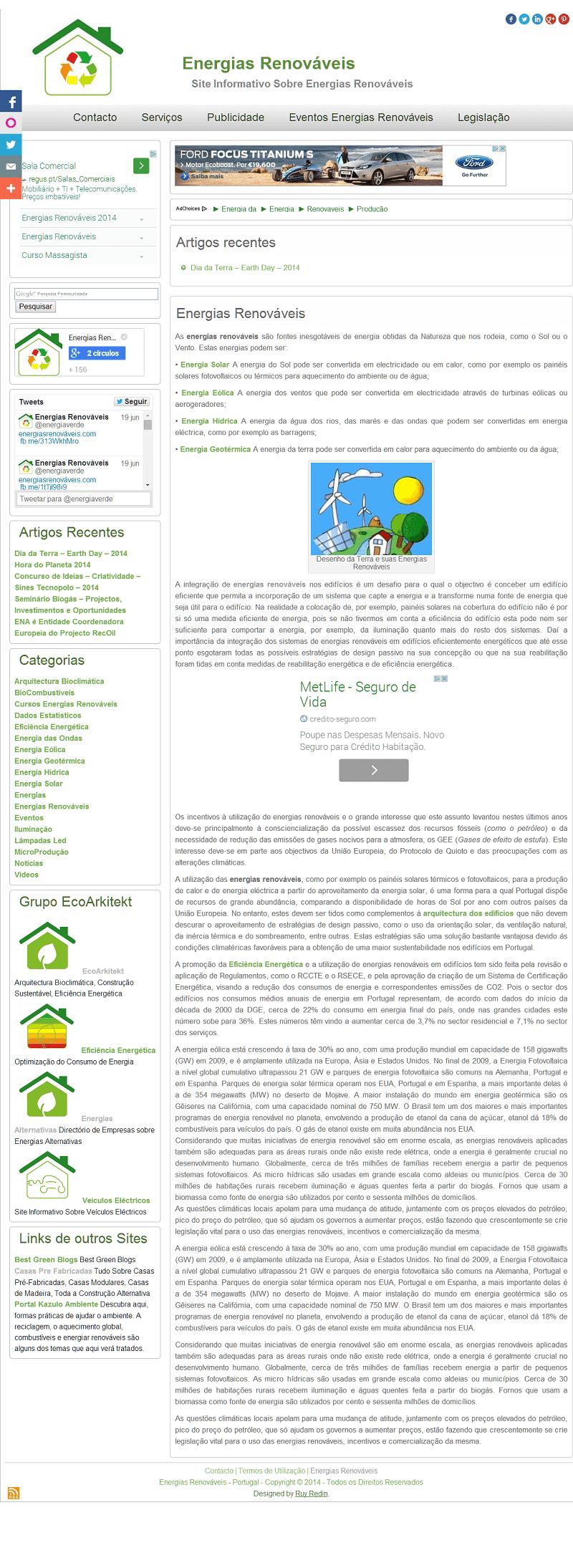 Site sobre Energias Renováveis